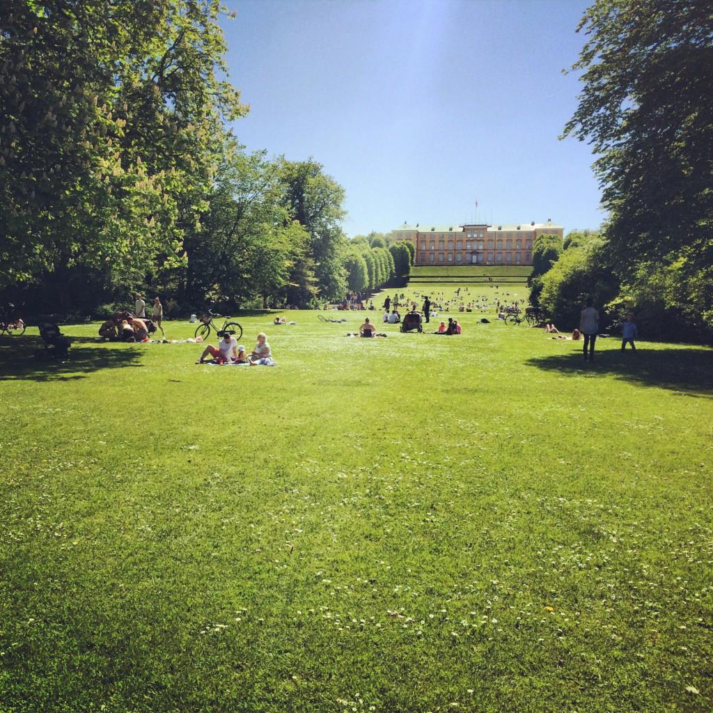 Sommer in Kopenhagen heißt im Park mit Aussicht aufs Schloss sitzen